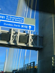Image of overhead road sign on Queensferry Crossing