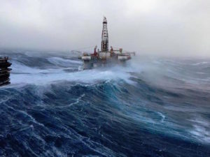 Image of North Sea oil rig in bad weather