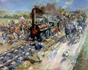 Painting of Stockton-Darlington Railway