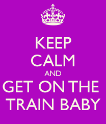 Image of 'Get on the train' slogan