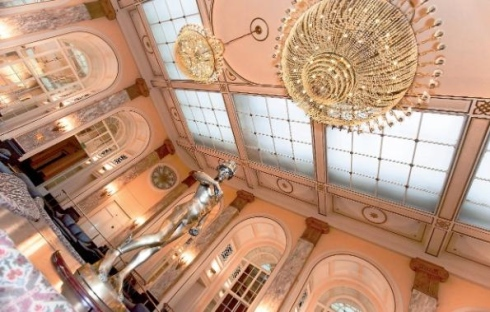 Image of grand chandaliers in the Sefton Suite of Liverpool's famed Adelphi