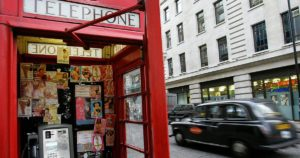 What's going on? Decrim of sexwork is in the NEWS. Image shows escorts' calling cards in a London phonebox