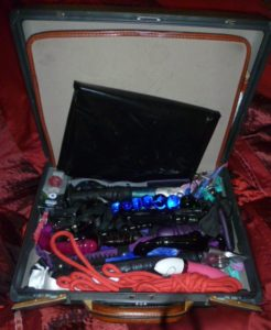 Image of briefcase full of sextoys we take with us on an outcall