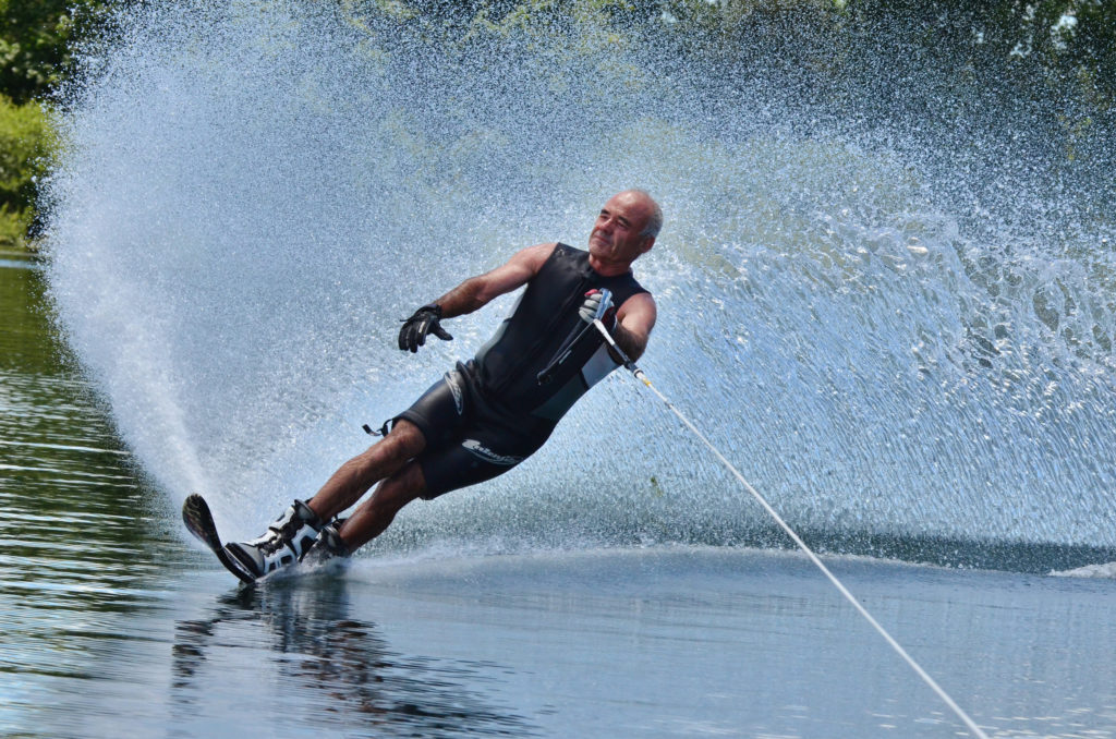 Image of veteran slalom water skier