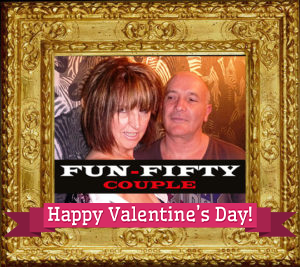 Image of UK Escort Couple fun50couple in Guilt Frame with Valentines Day 2020 banner