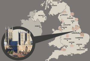 Image of Lincoln showing location of UK Escort Couple tour stop