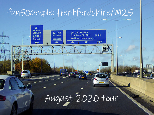 Image of M25 motorway in Hertfordshire, with text advertising August 2020 escort couple tour